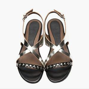 MARNI Metal-Silver Cross Over Studded Strap Sandal